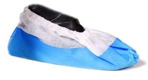 Microzone Disposable Overshoes White with Blue CPE Sole - PAGT39XL