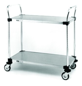 "Stainless Steel Trolley 18"" Wide with 3 Solid Shelves - TROLLEY3"